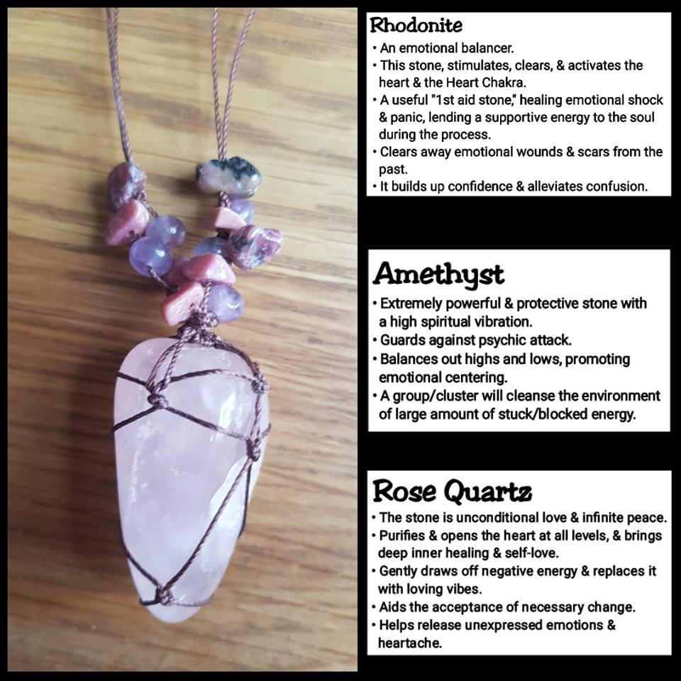 Rose Quartz, Amethyst & Rhodonite Crystal Necklace